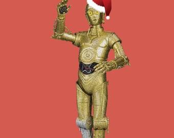 C3PO Christmas card Hand Drawn Star Wars Inspired Blank Card