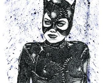 Hand Drawn Catwoman inspired fan art Print