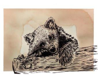 Hand Drawn Bear Cub Print