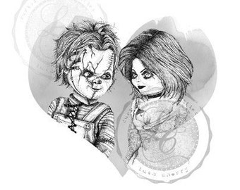 Hand Drawn Bride of Chucky Blank Card- Chucky and Tiffany Valentine's Day