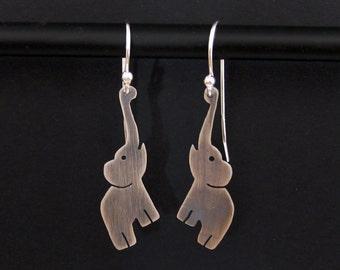 Elephant Earrings - Sterling Silver Elephant Jewelry - Fun Animal Earrings - African Animal Lover Gift - Lucky Elephant African Earrings