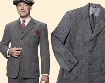 097a2eba1bd 30s 40s chevron tweed JACKET grey wool blend swing lindy hop 1940 1930
