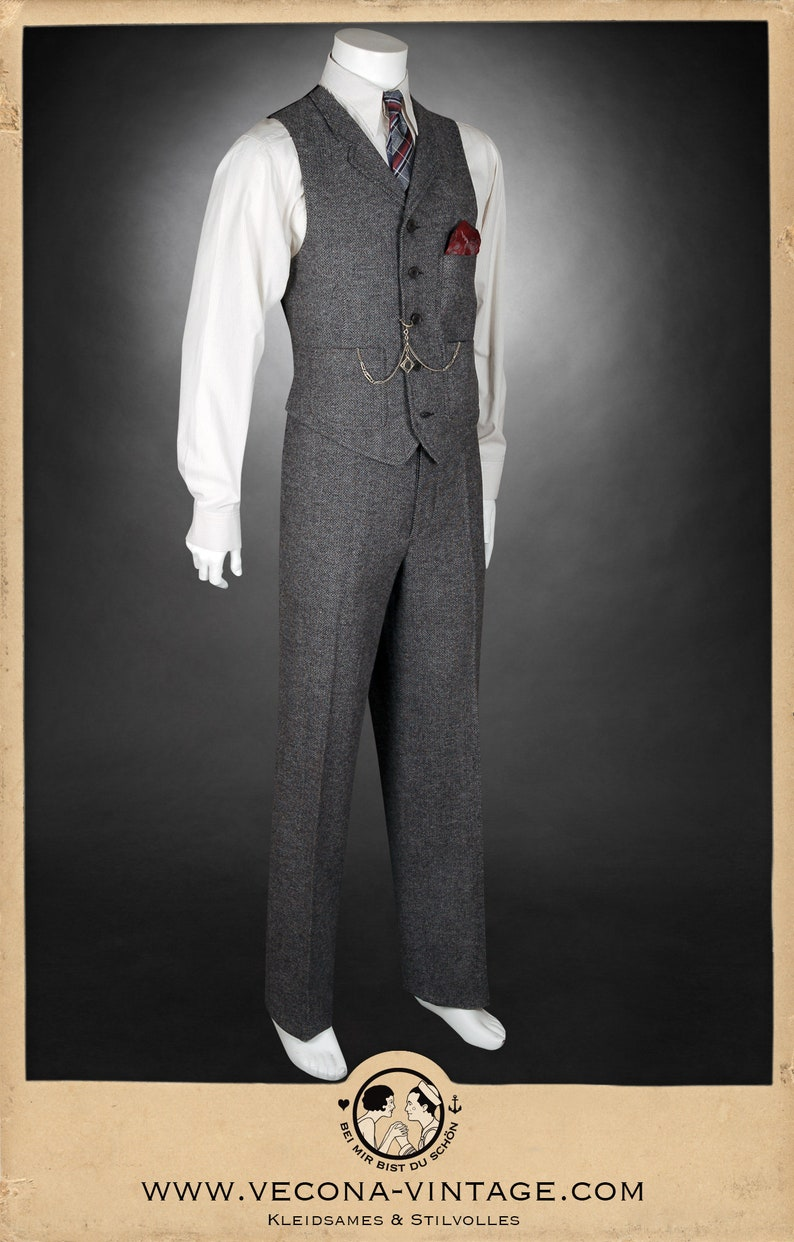 Men's Vintage Christmas Gift Ideas 20s 30s chevron tweed TROUSERS grey wool blend swing lindy hop pants 1930 1920 $218.35 AT vintagedancer.com