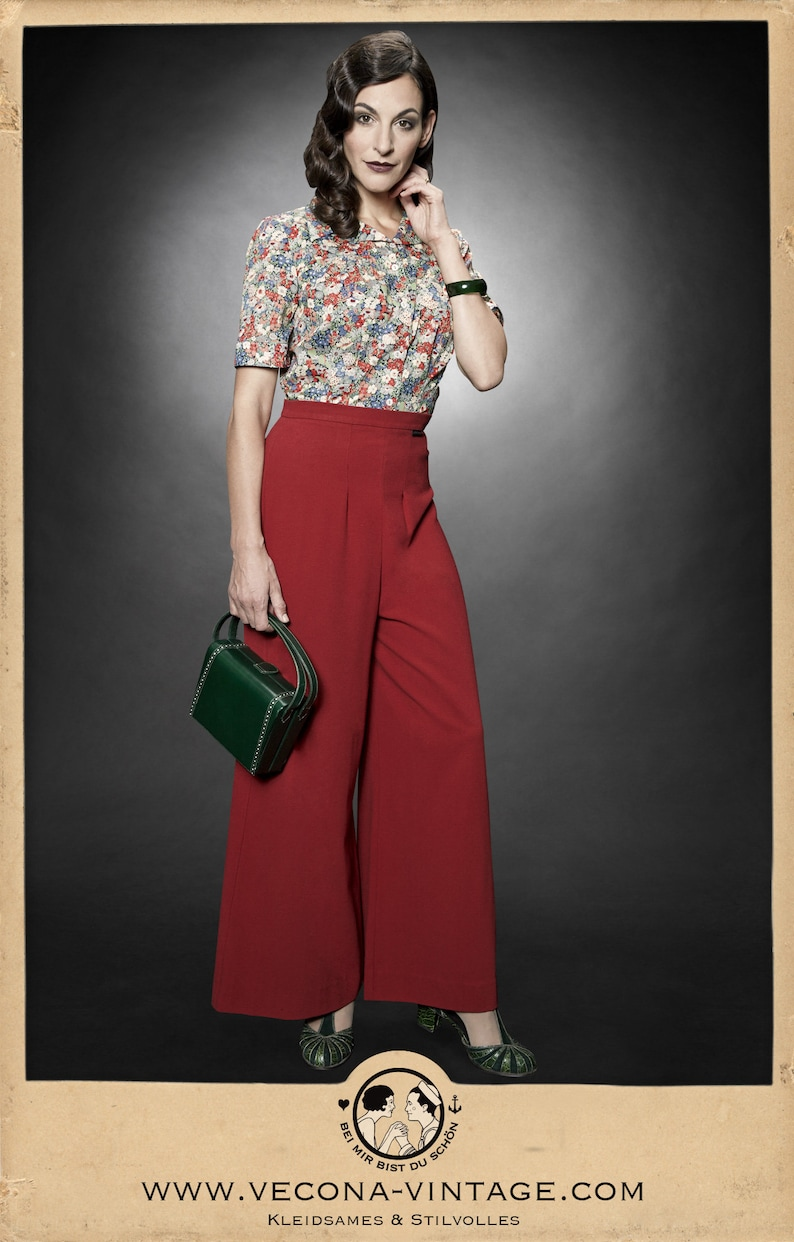 1930s Outfit Inspiration – Women's Clothing Ideas 30s cherry red PAJAMA PANTS crepe slacks 1930 wide leg high waist $231.75 AT vintagedancer.com