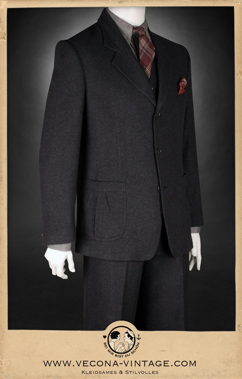 1940s UK and Europe Men's Clothing – WW2, Swing Dance, Goodwin 30s 40s tweed JACKET navy blue wool blend swing lindy hop 1940 1930 $353.07 AT vintagedancer.com