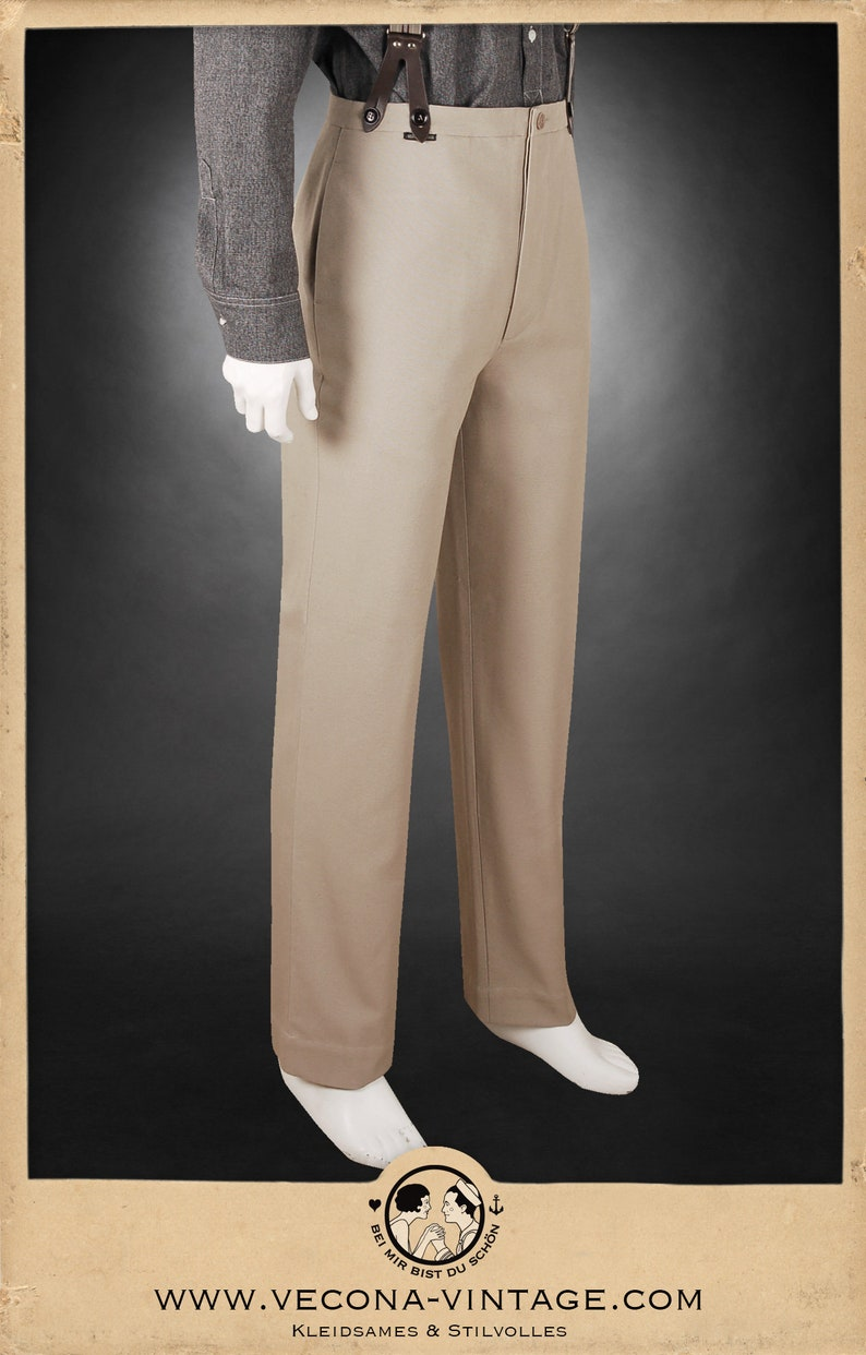 1920s Men's Pants, Trousers, Plus Fours, Knickers 20s 30s TROUSERS beige khaki cotton canvas swing lindy hop pants 1920 1930 $250.20 AT vintagedancer.com