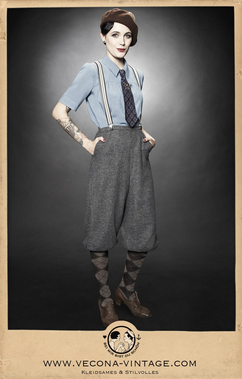 1920s Skirts, Gatsby Skirts, Vintage Pleated Skirts 20s 30s 40s ladies KNICKERBOCKERS chevron tweed grey garconne 1920 1930 1940 $207.46 AT vintagedancer.com
