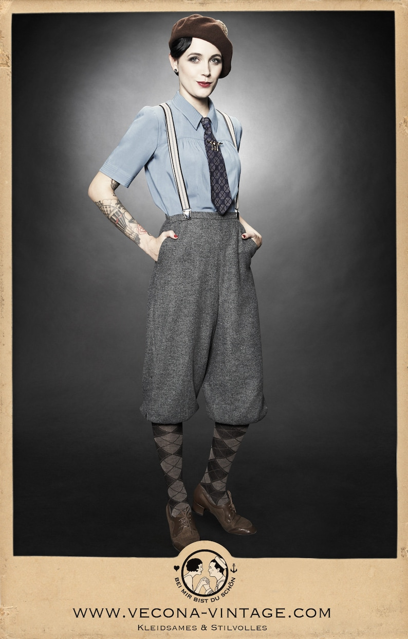1940s Pants History- Overalls, Jeans, Sailor, Siren Suits 20s 30s 40s ladies KNICKERBOCKERS chevron tweed grey garconne 1920 1930 1940 $207.46 AT vintagedancer.com