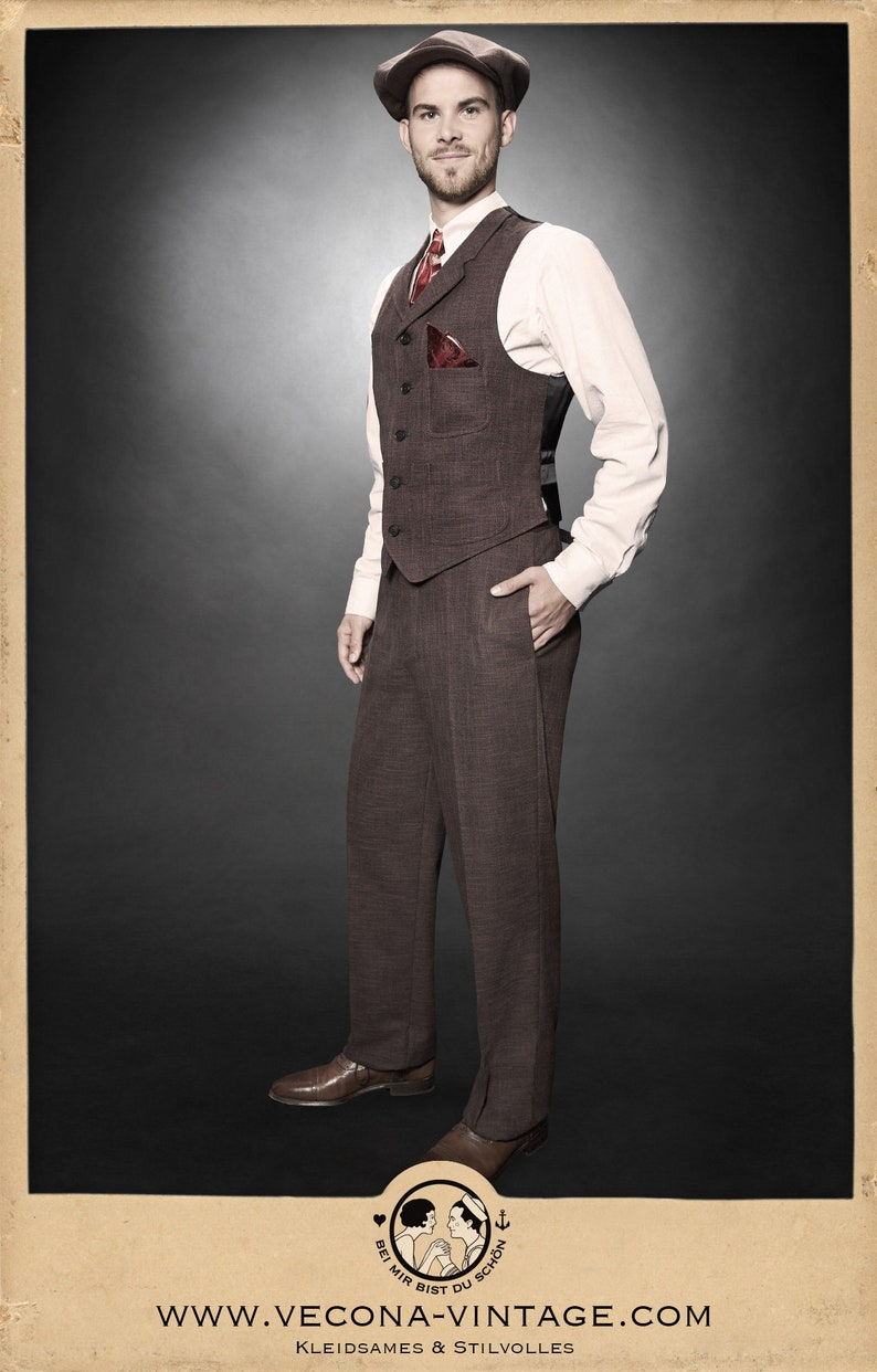 1920s Men's Fashion UK | Peaky Blinders Clothing 20s 30s TROUSERS brown cotton linen blend swing lindy hop pants 1920 1930 $250.20 AT vintagedancer.com