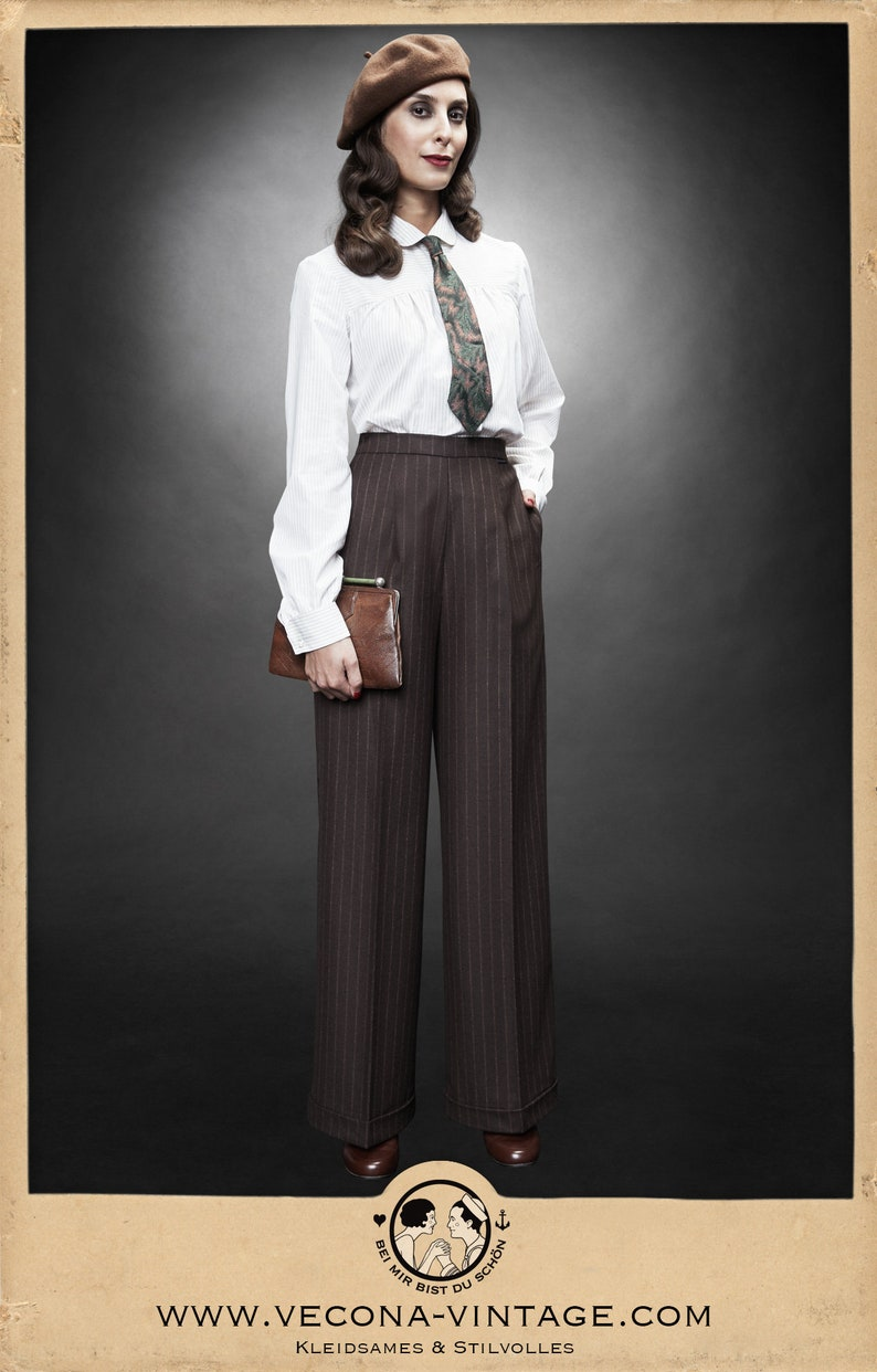 1940s Swing Pants & Sailor Trousers- Wide Leg, High Waist 30s 40s brown chalk stripe MARLENE TROUSERS wool cashmere garconne 1930 1940 $261.63 AT vintagedancer.com