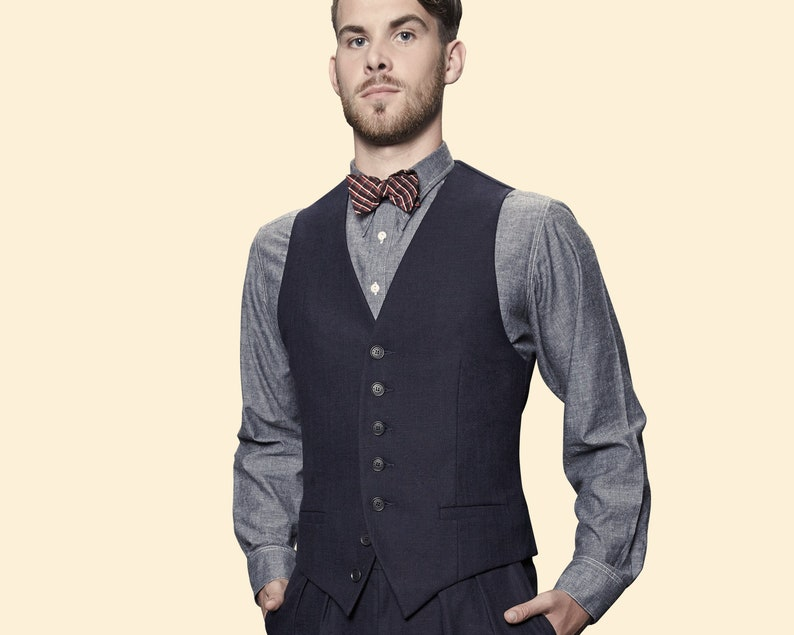 6aa2237a795 30s 40s WAISTCOAT navy blue cotton linen blend swing vest