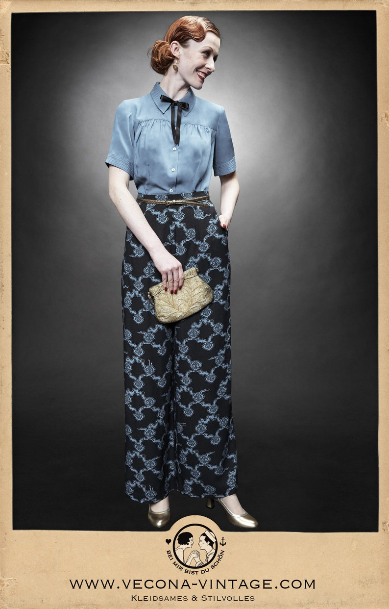 Did Women Wear Pants in the 1920s? Yes! sort of… 30s navy blue PAJAMA PANTS Japan crepe slacks 1930 wide leg high waist $195.87 AT vintagedancer.com