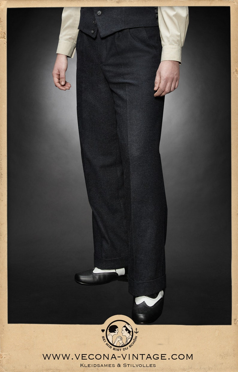 1940s UK and Europe Men's Clothing – WW2, Swing Dance, Goodwin 30s 40s tweed TROUSERS navy blue wool blend swing lindy hop pants 1930 1940 $238.77 AT vintagedancer.com