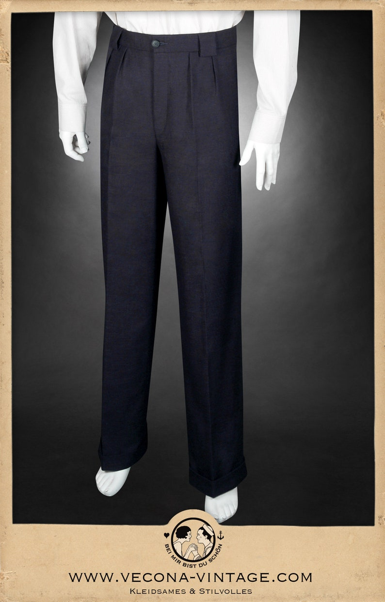 1920s Men's Fashion UK | Peaky Blinders Clothing 30s 40s TROUSERS navy blue cotton linen blend swing lindy hop pants 1930 1940 $238.77 AT vintagedancer.com