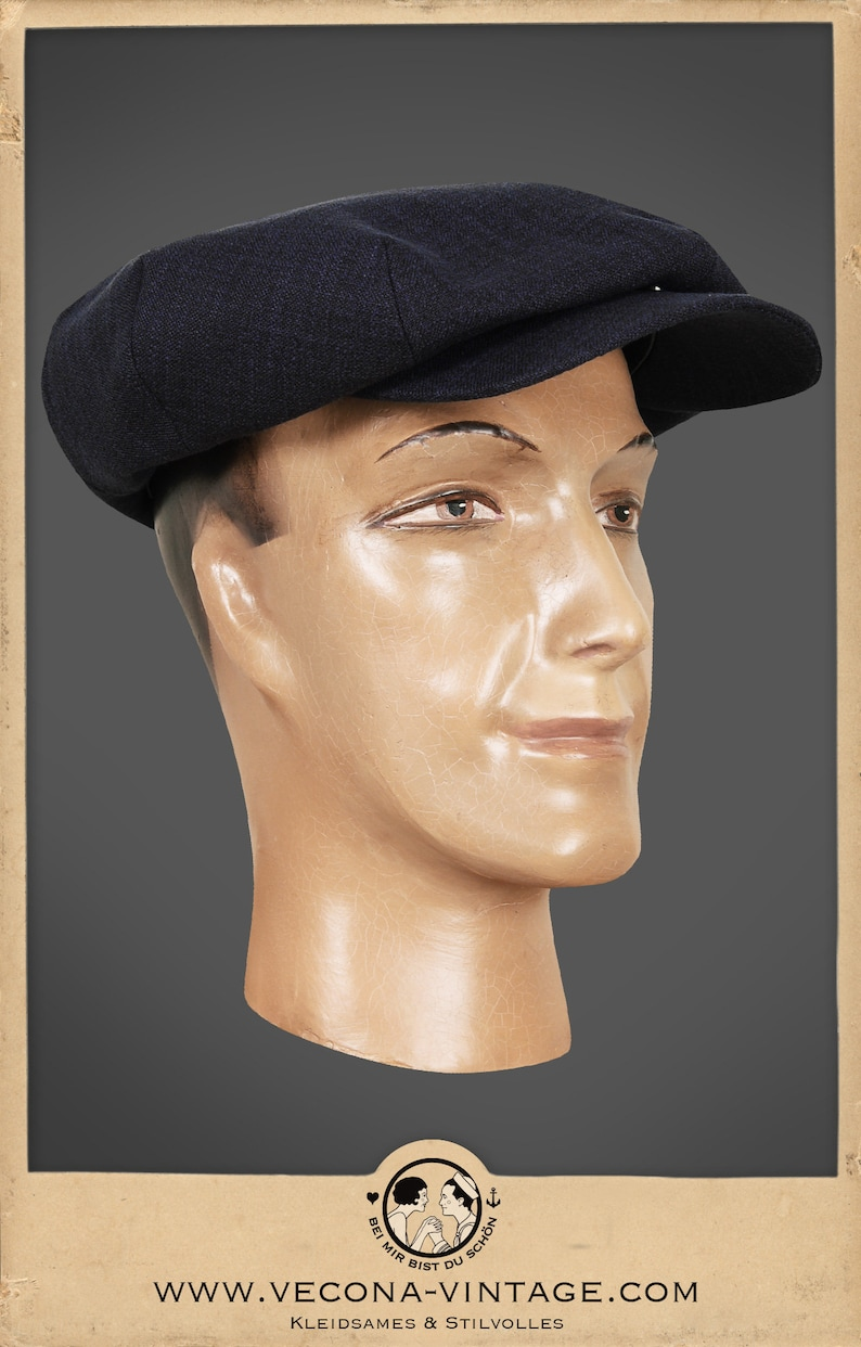 1920s Mens Hats & Caps | Gatsby, Peaky Blinders, Gangster 30s 20s navy blue CAP cotton linen blend swing lindy hop 1930 1920 $113.04 AT vintagedancer.com