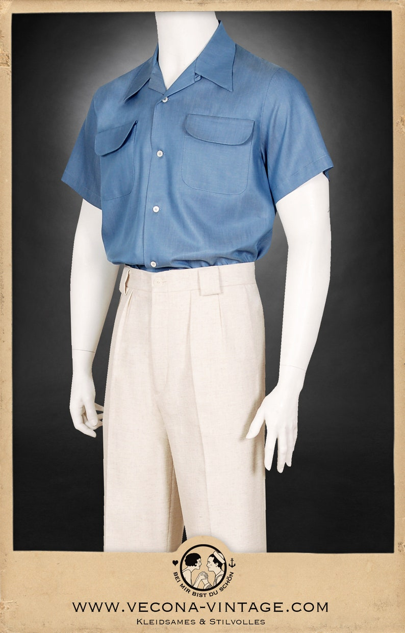 1940s Men's Outfit Inspiration | Costume Ideas 1940s Loop Collar Shirt short sleeve blue 100% Tencel $194.95 AT vintagedancer.com