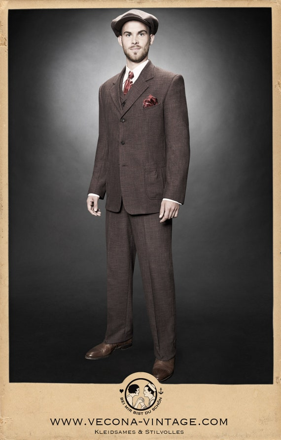 1940s Mens Suits | Gangster, Mobster, Zoot Suits 30s 40s JACKET brown cotton linen blend swing lindy hop 1940 1930 £248.91 AT vintagedancer.com
