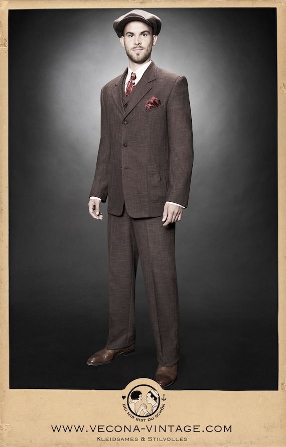 1940s Zoot Suit History & Buy Modern Zoot Suits 30s 40s JACKET brown cotton linen blend swing lindy hop 1940 1930 £248.91 AT vintagedancer.com