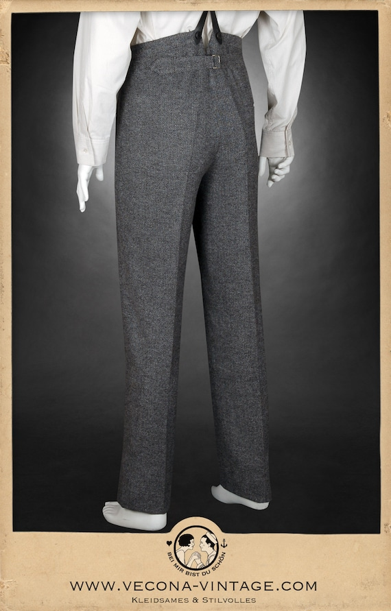 1920s Men's Pants, Trousers, Plus Fours, Knickers 20s 30s chevron tweed TROUSERS grey wool blend swing lindy hop pants 1930 1920 £168.61 AT vintagedancer.com