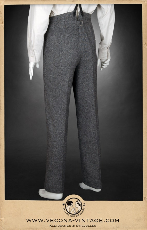 Peaky Blinders & Boardwalk Empire: Men's 1920s Gangster Clothing 20s 30s chevron tweed TROUSERS grey wool blend swing lindy hop pants 1930 1920 £168.61 AT vintagedancer.com