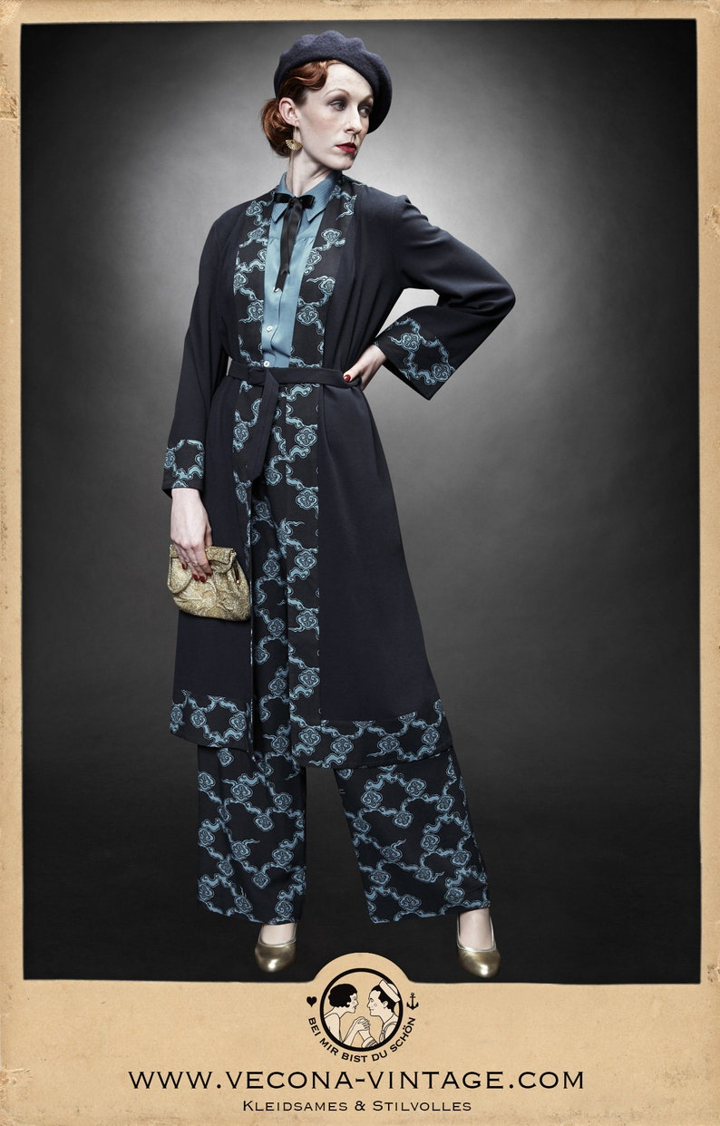 1930s Style Coats, Jackets | Art Deco Outerwear 30s 20s navy blue CREPE COAT belt clouds japan print 1930 1920 $284.49 AT vintagedancer.com