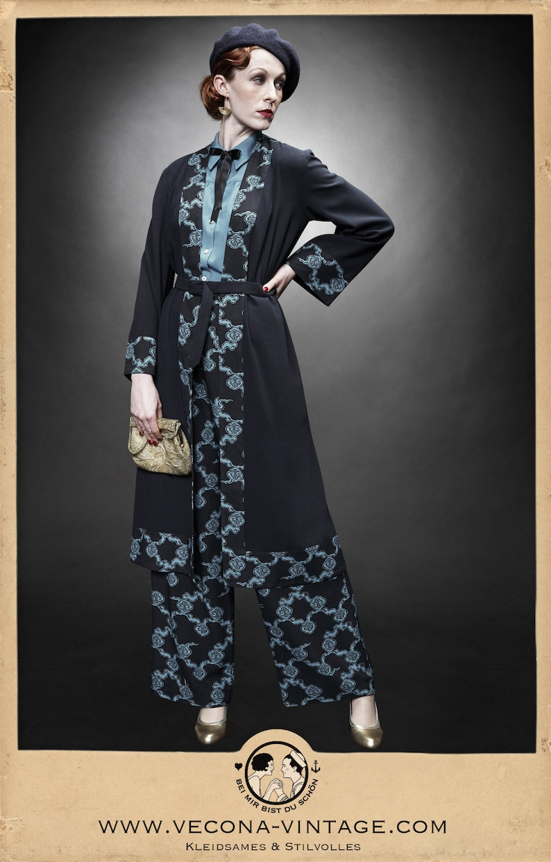 1920s Coats, Furs, Jackets and Capes History 30s 20s navy blue CREPE COAT belt clouds japan print 1930 1920 $284.49 AT vintagedancer.com