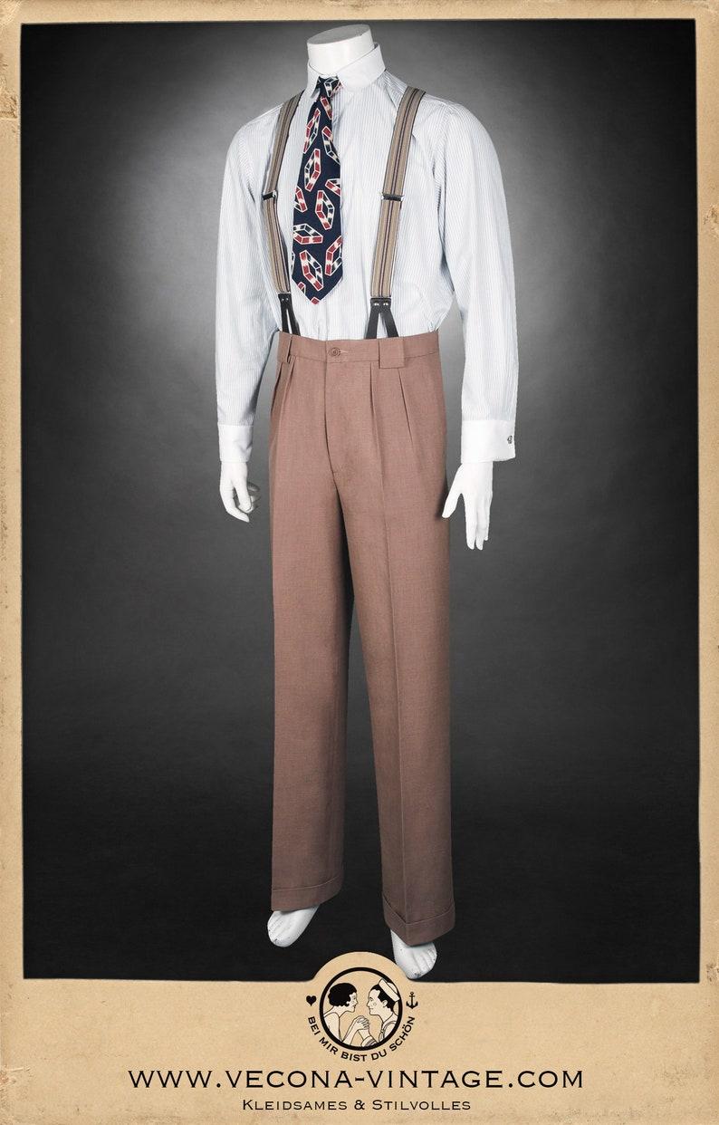 1940s Trousers, Mens Wide Leg Pants 30s 40s TROUSERS caramel light brown cotton linen blend swing lindy hop pants 1930 1940 $278.50 AT vintagedancer.com