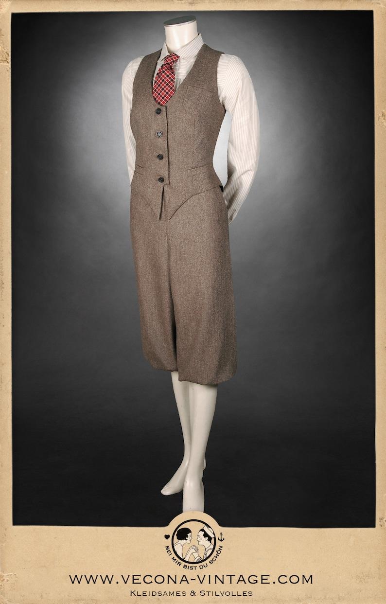 1940s Swing Pants & Sailor Trousers- Wide Leg, High Waist 20s 30s 40s ladies KNICKERBOCKERS Plus Fourschevron tweed brown 100% Merinowool garconne 1920 1930 1940 $280.82 AT vintagedancer.com