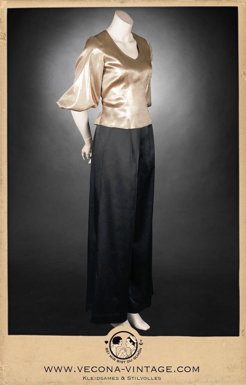 1930s Wide Leg Pants and Beach Pajamas 30s black SATIN PANTS slacks 1930 wide leg high waist $256.29 AT vintagedancer.com