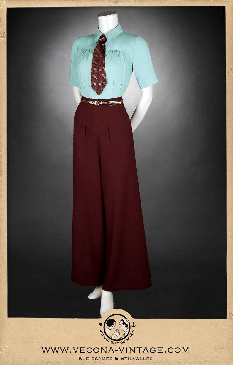Vintage Wide Leg Pants & Beach Pajamas History 30s wine red PAJAMA PANTS crepe slacks 1930 wide leg high waist $244.02 AT vintagedancer.com