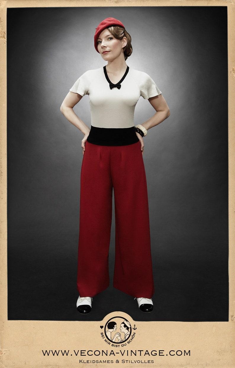 Vintage High Waisted Trousers, Sailor Pants, Jeans 30s cherry red PAJAMA PANTS crepe slacks 1930 wide leg high waist $215.91 AT vintagedancer.com