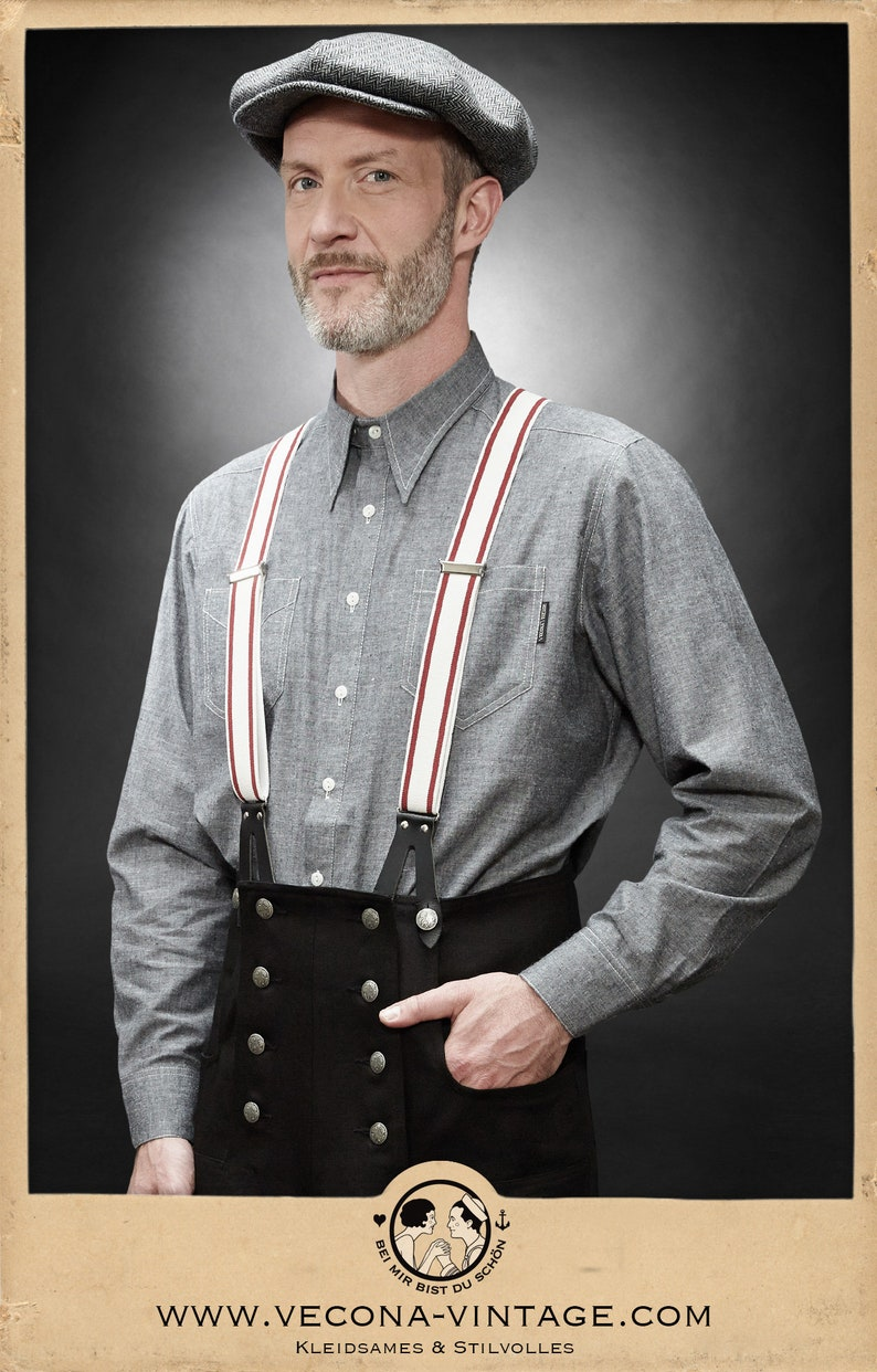 Mens Vintage Shirts – Casual, Dress, T-shirts, Polos 30s 40s chambray shirt GASOLINE GENE grey spearpoint collar 1930 1940 $161.10 AT vintagedancer.com