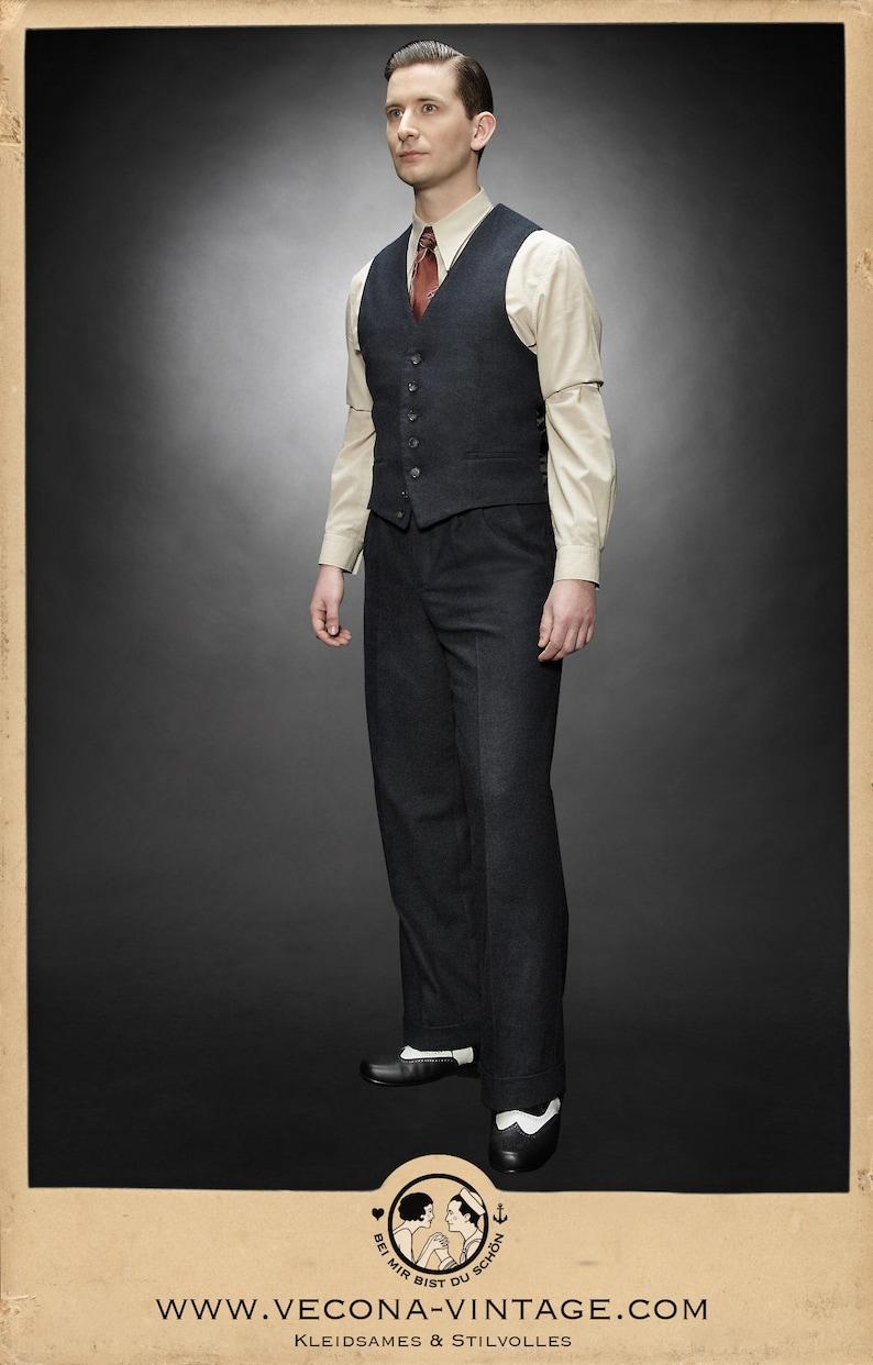 1940s Trousers, Mens Wide Leg Pants 30s 40s tweed TROUSERS navy blue wool blend swing lindy hop pants 1930 1940 $265.78 AT vintagedancer.com