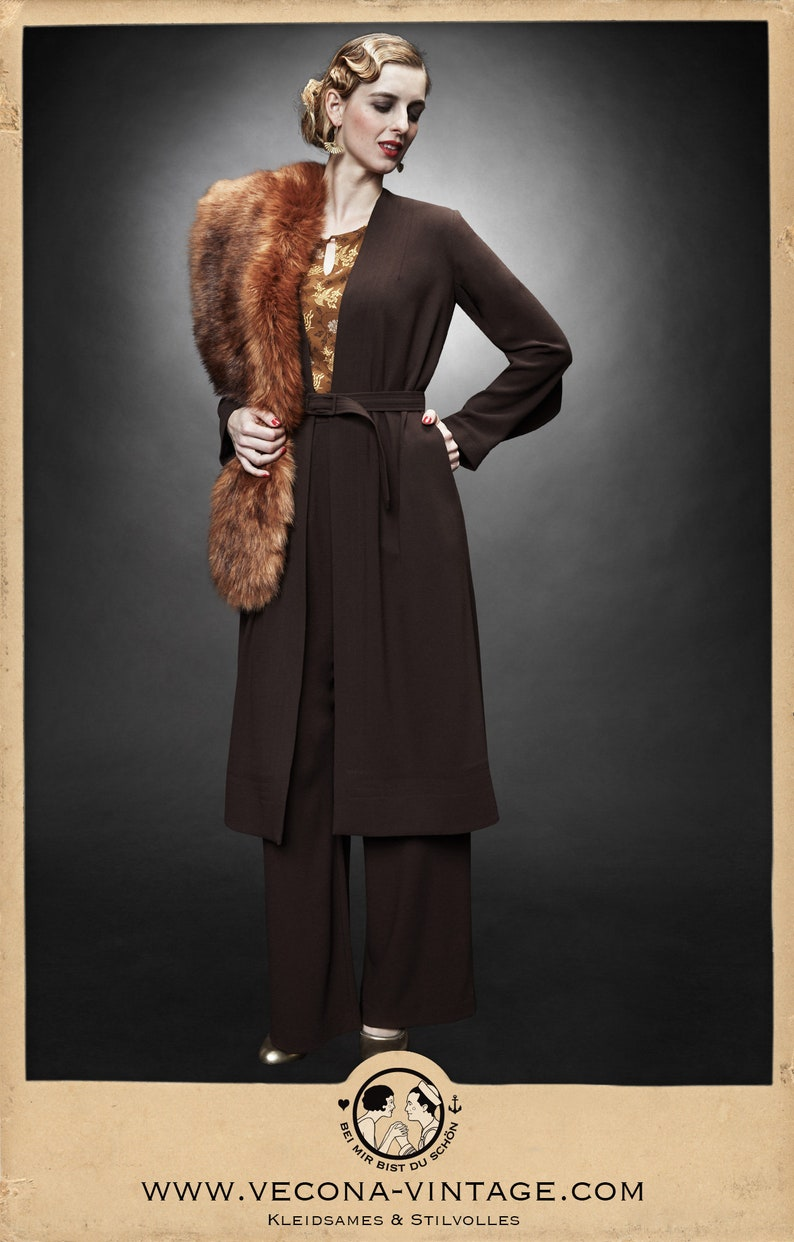 1930s Style Coats, Jackets | Art Deco Outerwear 30s 40s brown CREPE COAT belt dark chocolate brown 1930 1940 $284.49 AT vintagedancer.com