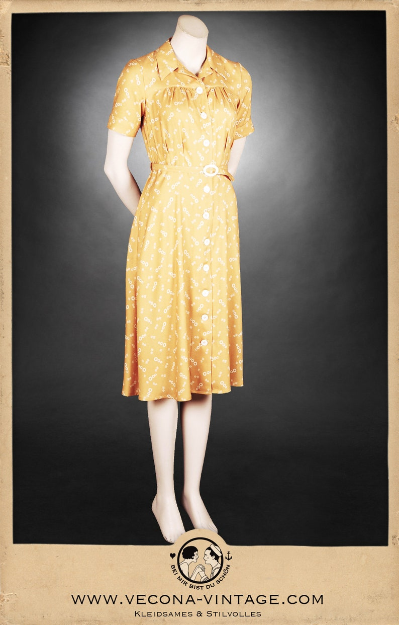 1930s Dresses | 30s Art Deco Dress 30s 40s crepe dress CONEY ISLAND yellow swing lindy hop 1930 1940 $305.36 AT vintagedancer.com