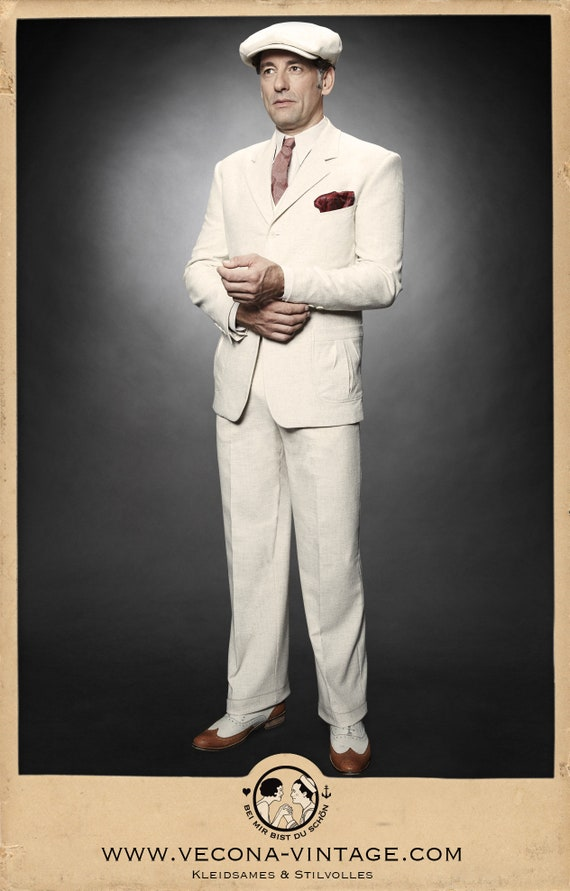 1940s UK and Europe Men's Clothing – WW2, Swing Dance, Goodwin 30s 40s TROUSERS ecru cotton linen blend swing lindy hop pants 1930 1940 $159.69 AT vintagedancer.com