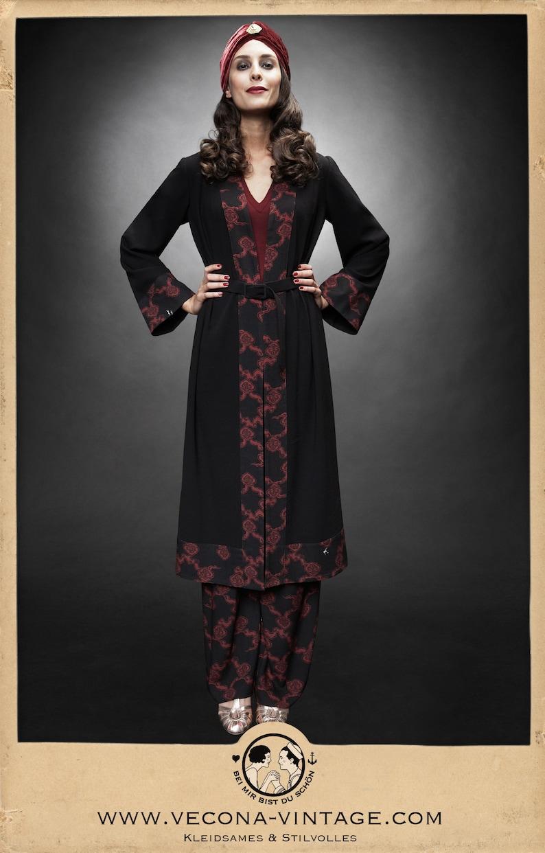 1930s Outfit Inspiration – Women's Clothing Ideas 30s black red PAJAMA PANTS Japan crepe slacks 1930 wide leg high waist $244.02 AT vintagedancer.com