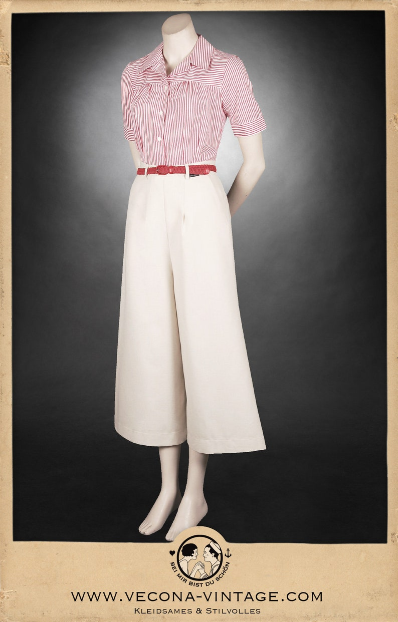 1940s Shorts | High Waisted Shorts | Sailor Shorts 30s ecru culottes 1930 wide leg high waist $244.02 AT vintagedancer.com