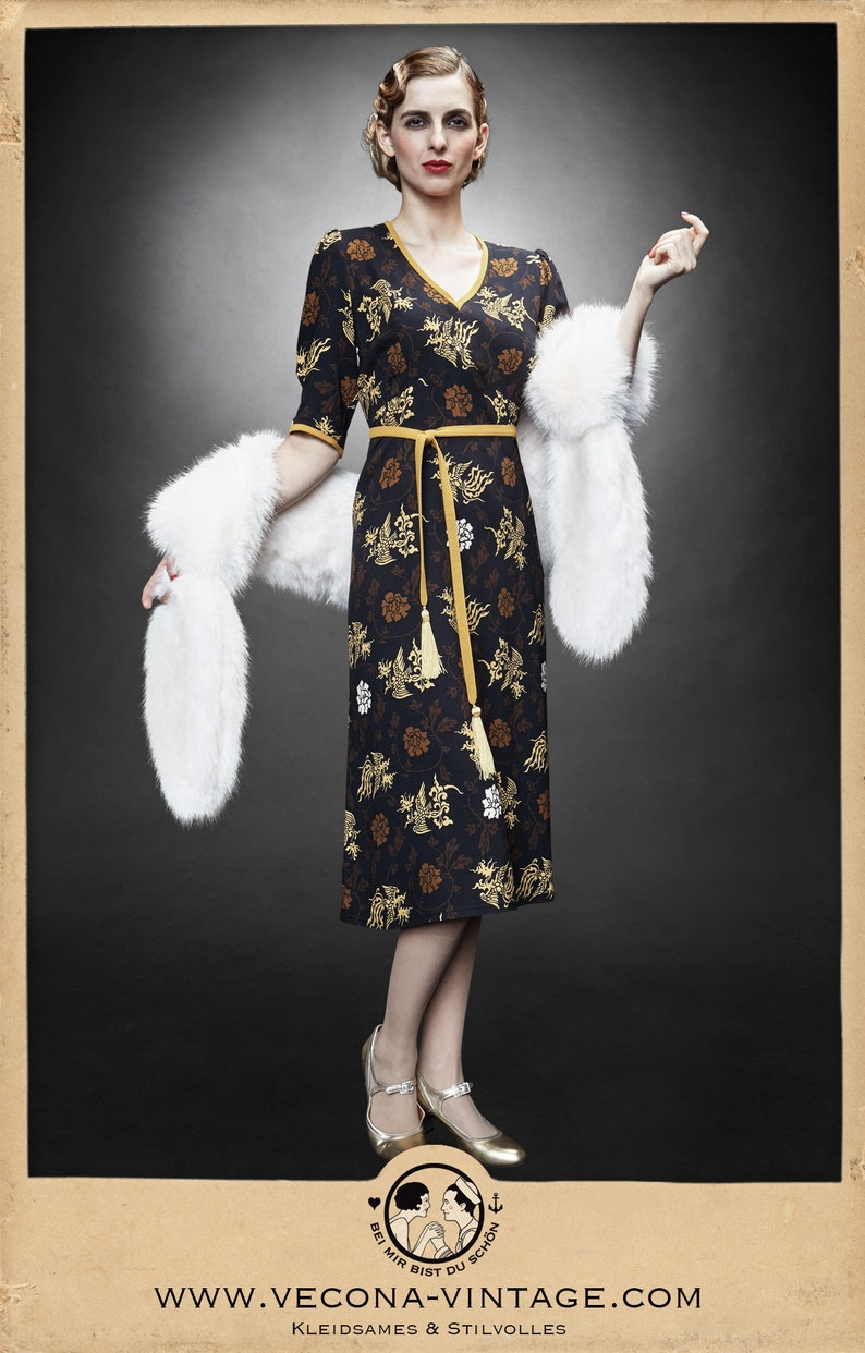 1930s Day Dresses, Afternoon Dresses History 30s 40s crepe DRAGON DRESS navy blue yellow swing lindy hop tassels 1930 1940 $284.49 AT vintagedancer.com