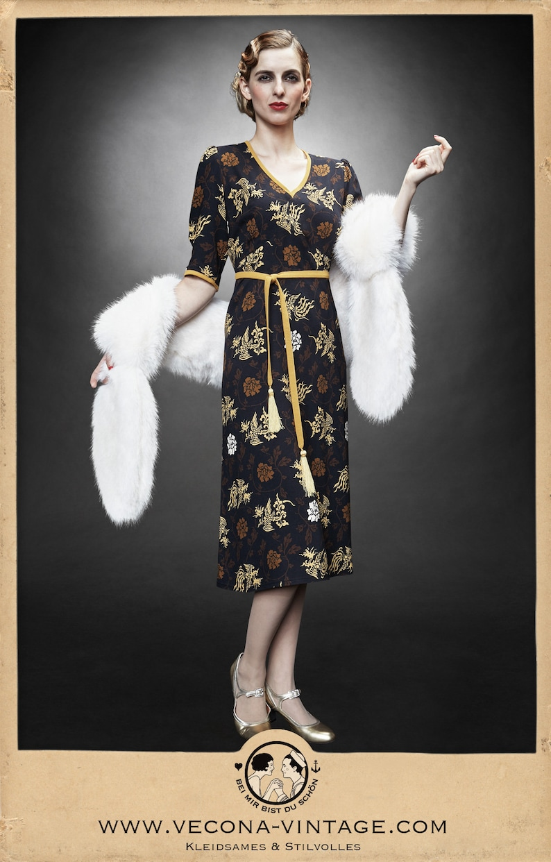 1940s Dresses | 40s Dress, Swing Dress 30s 40s crepe DRAGON DRESS navy blue yellow swing lindy hop tassels 1930 1940 $284.49 AT vintagedancer.com