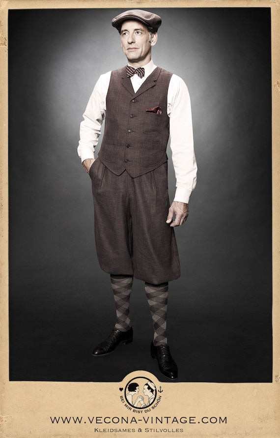 Peaky Blinders & Boardwalk Empire: Men's 1920s Gangster Clothing 30s 20s KNICKERBOCKERS plus fours brown cotton linen blend swing lindy hop 1930 1920 $168.61 AT vintagedancer.com