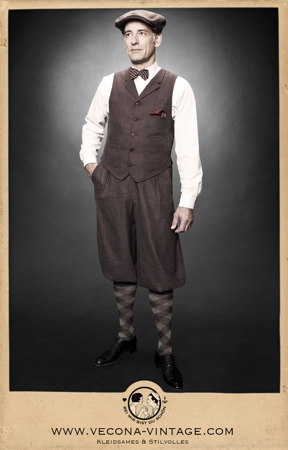 Men's Vintage Pants, Trousers, Jeans, Overalls 30s 20s KNICKERBOCKERS plus fours brown cotton linen blend swing lindy hop 1930 1920 $168.61 AT vintagedancer.com