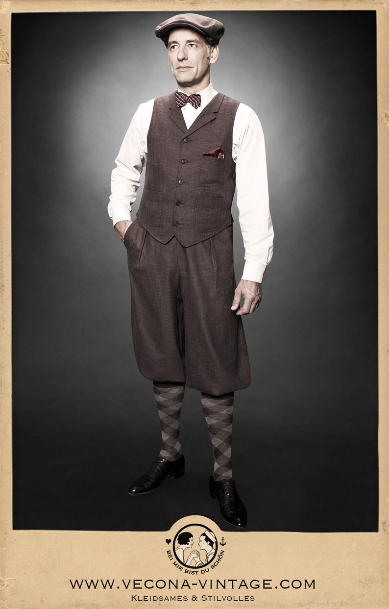 Men's Vintage Pants, Trousers, Jeans, Overalls 30s 20s KNICKERBOCKERS plus fours brown cotton linen blend swing lindy hop 1930 1920 $250.20 AT vintagedancer.com