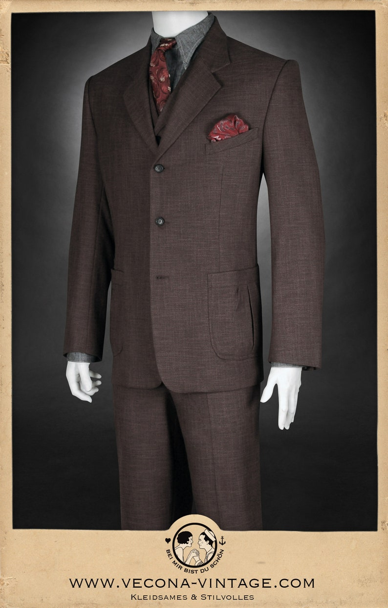 1940s Mens Suits | Gangster, Mobster, Zoot Suits 30s 40s JACKET brown cotton linen blend swing lindy hop 1940 1930 $323.37 AT vintagedancer.com