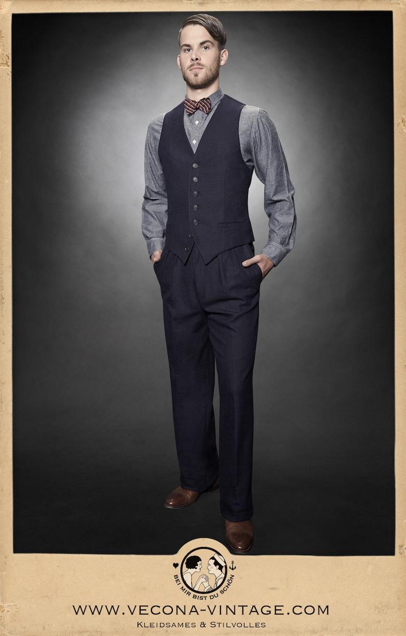 1940s Men's Outfit Inspiration | Costume Ideas 30s 40s TROUSERS navy blue cotton linen blend swing lindy hop pants 1930 1940  AT vintagedancer.com