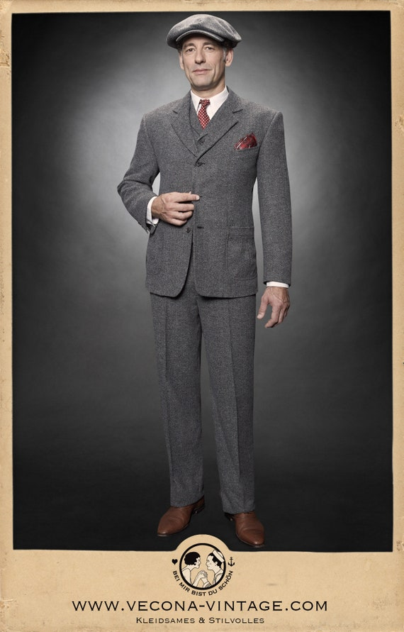 99a3dc695e7 1930s Mens Fashion Guide- What Did Men Wear  30s 40s chevron tweed JACKET  grey