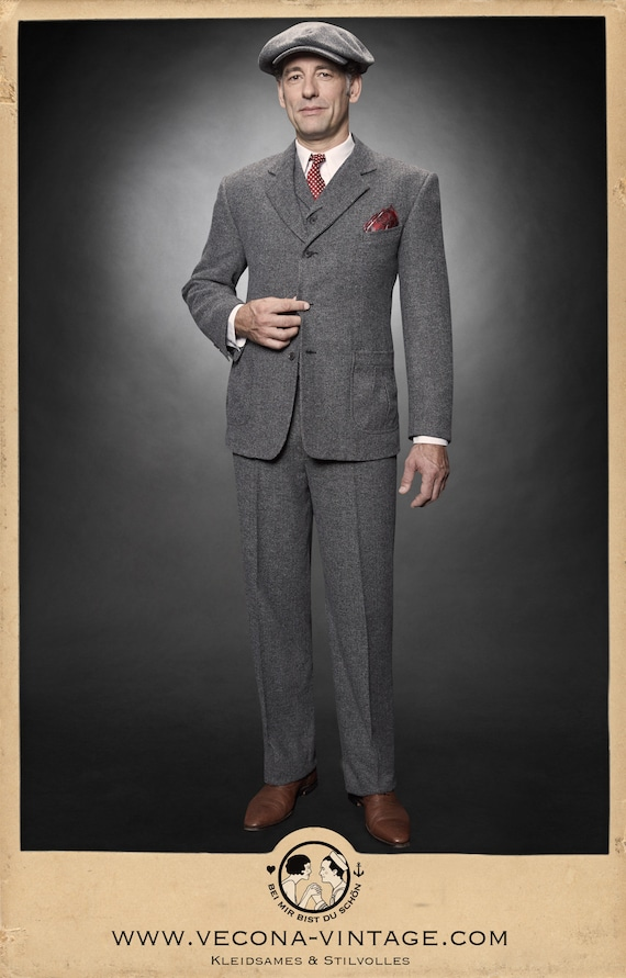 1940s Mens Suits | Gangster, Mobster, Zoot Suits 30s 40s chevron tweed JACKET grey wool blend swing lindy hop 1940 1930 �248.91 AT vintagedancer.com