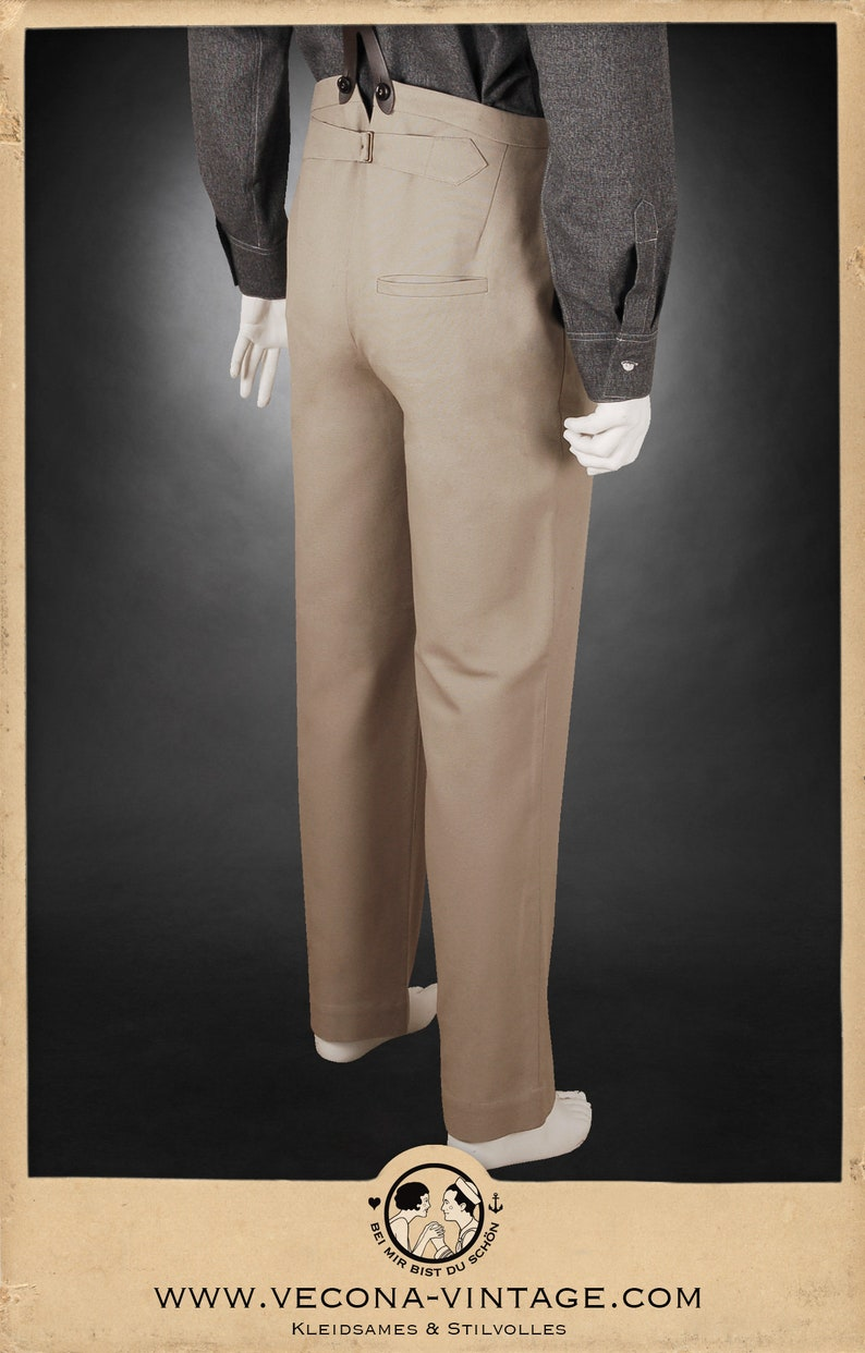 Retro Clothing for Men | Vintage Men's Fashion 20s 30s TROUSERS beige khaki cotton canvas swing lindy hop pants 1920 1930 $218.35 AT vintagedancer.com