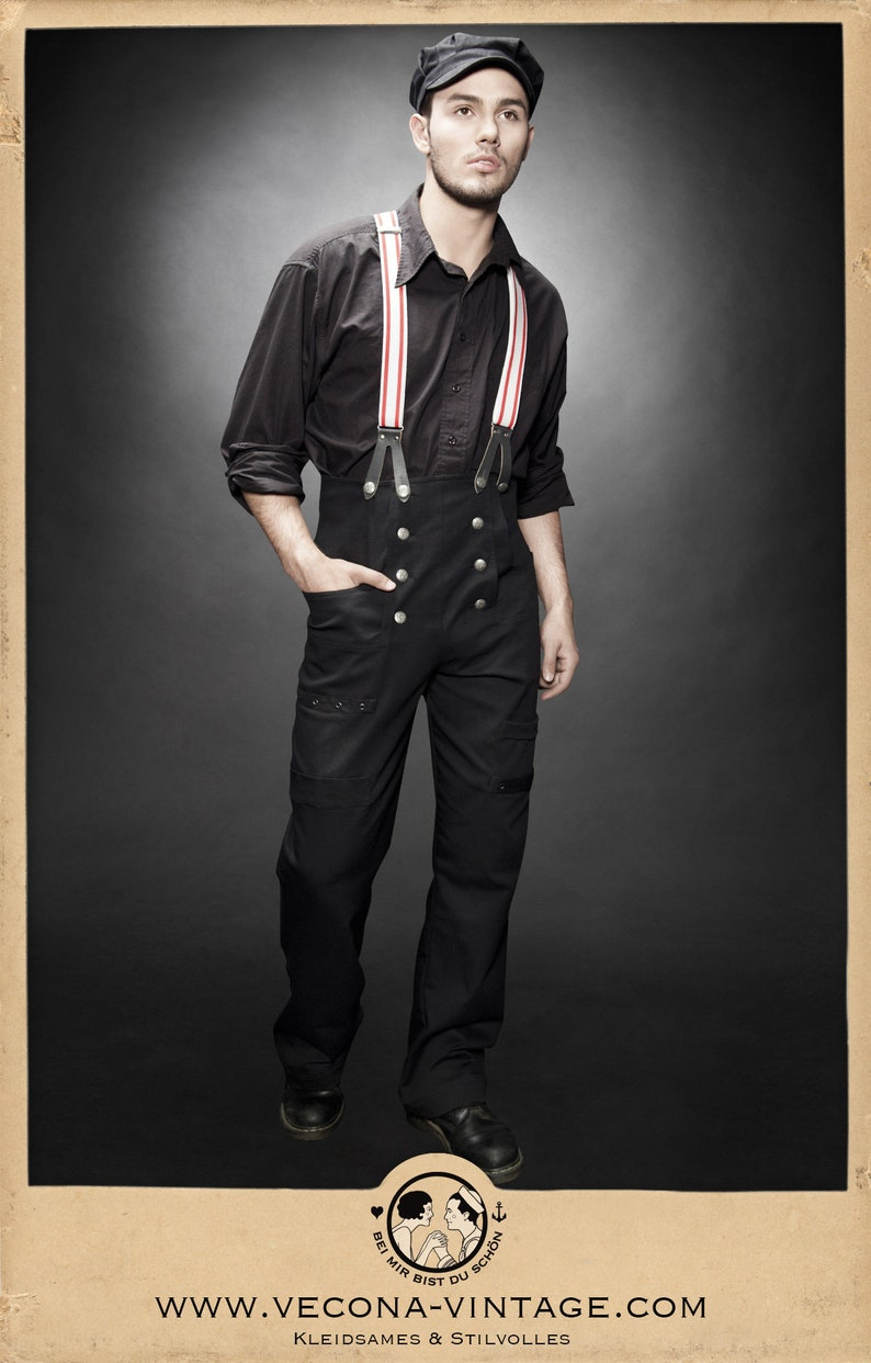 1940s UK and Europe Men's Clothing – WW2, Swing Dance, Goodwin 30s 40s WORK TROUSERS black cotton canvas swing lindy hop pants 1930 1940 $250.20 AT vintagedancer.com