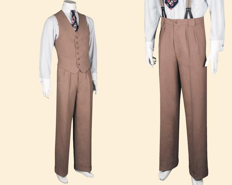 1940s Men's Clothing 30s 40s TROUSERS caramel light brown cotton linen blend swing lindy hop pants 1930 1940 $268.56 AT vintagedancer.com